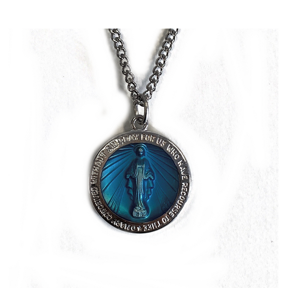 Large Round Blue Enamel Miraculous Medal