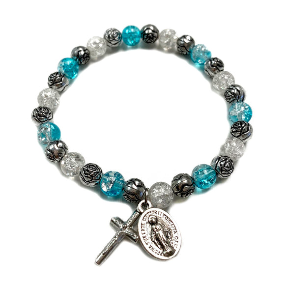 Blue Glass & Rose Bead Child's Stretch Bracelet