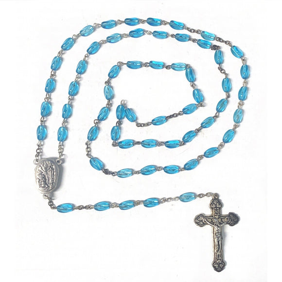 Blue Glass Rosary with Lourdes Water