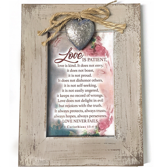 1 Corinthians 13:4-8 Gray Distressed Frame