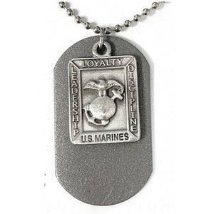 St. Michael Pewter Marines Dog Tag Necklace