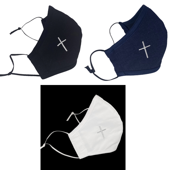 Embroidered Cross Adult's Face Mask (Assorted Colors)