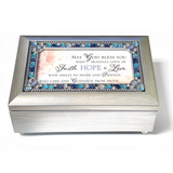Silver & Blue Jeweled Faith, Hope & Love Music Box