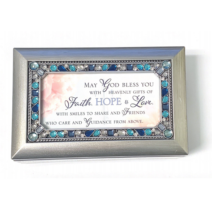 Silver Blue Jeweled Faith Hope Love Music Box The Catholic Gift Store