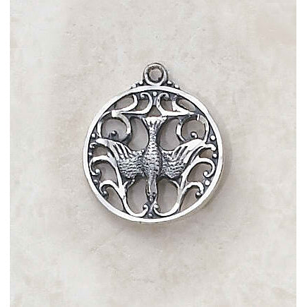 Sterling Silver Holy Spirit Medal with Chain