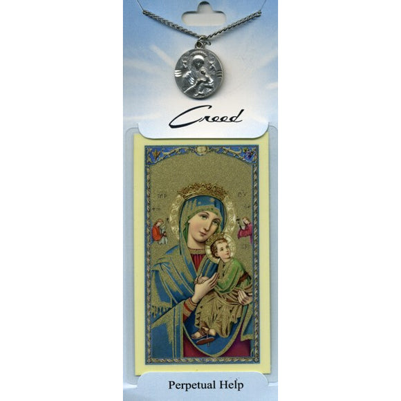 Our Lady of Perpetual Help Pewter Medal with Prayer Card