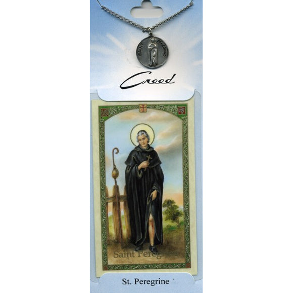 St. Peregrine Pewter Medal with Prayer Card