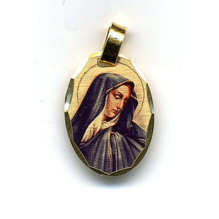 Our Lady of Sorrows Oval Pendant