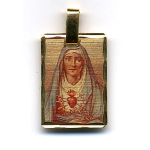 Our Lady of Sorrows Rectangle Pendant