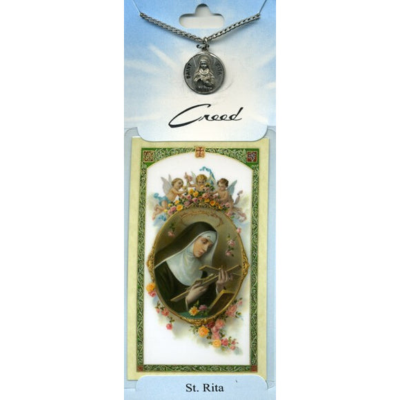 St. Rita Pewter Medal with Prayer Card