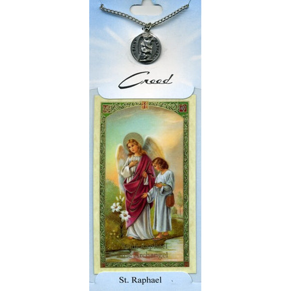 St. Raphael Pewter Medal with Prayer Card