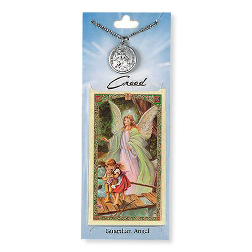 Guardian Angel Pewter Medal with Prayer Card