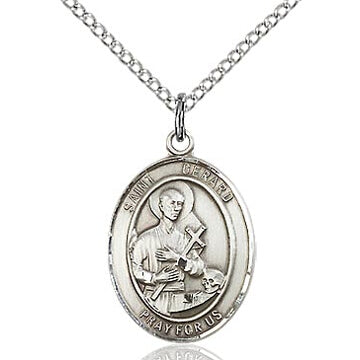 St. Gerard Sterling Silver Oval Medal with Stainless Chain