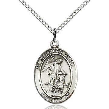 Guardian Angel Sterling Silver Oval Medal