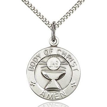 Body of Christ Round Sterling Silver Medal with Stainless Chain