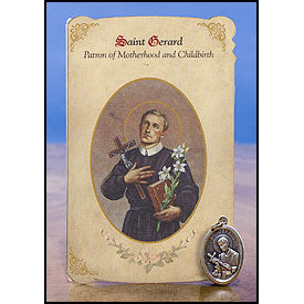 St. Gerard (Motherhood and Childbirth) Healing Medal Holy Card