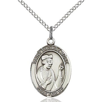 St. Thomas More Sterling Silver Oval Medal