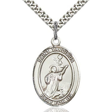 St. Tarcisius Sterling Silver Oval Medal