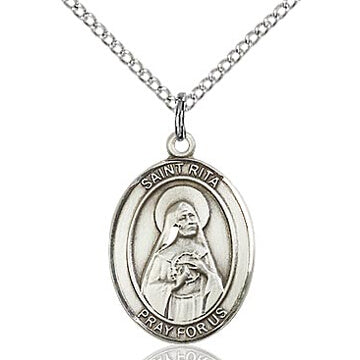 St. Rita of Cascia Sterling Silver Oval Medal