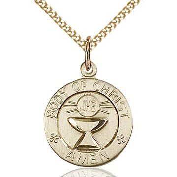 Body of Christ Round Gold Filled Medal on 18
