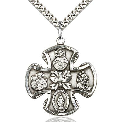 Large Sterling Silver 5-Way Medal Cross