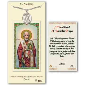 St. Nicholas Pewter Medal with Prayer Card