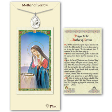 Sorrowful Mother Medal and Prayer Card