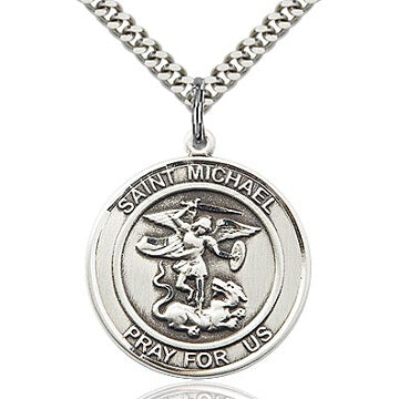 St. Michael Round Sterling Silver Medal