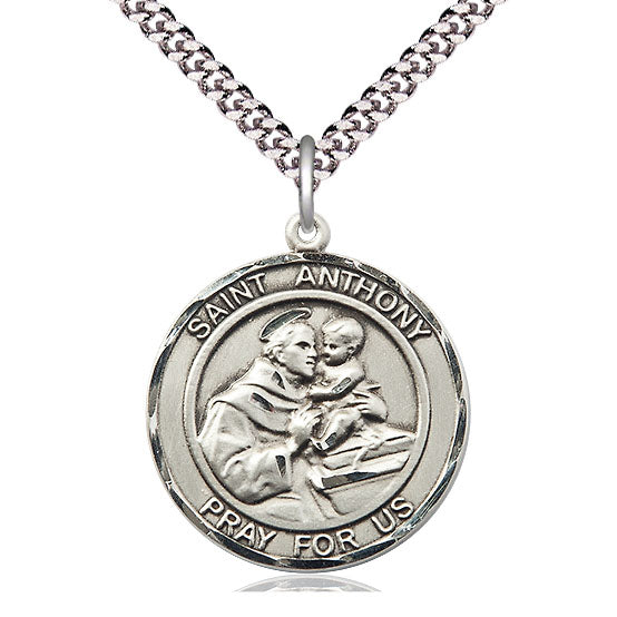 St. Anthony Large Round Sterling Silver Medal