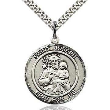St. Joseph Round Sterling Silver Medal