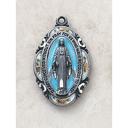 Sterling Silver Blue Enamel Miraculous Medal with Chain