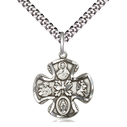 Small Sterling Silver 5-Way Medal Cross