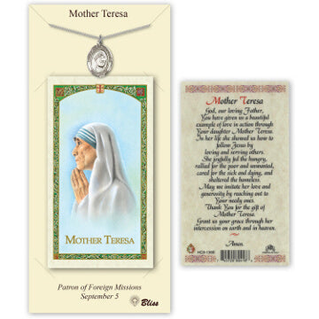 St. Mother Teresa Pewter Medal with Prayer Card