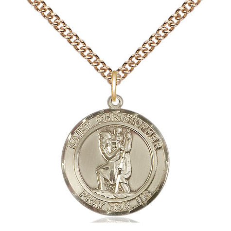 St. Christopher Gold Filled Round Medal