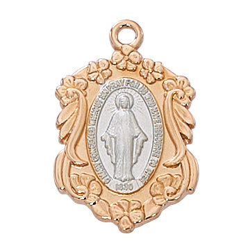 Rose Gold and Sterling Silver Miraculous Medal