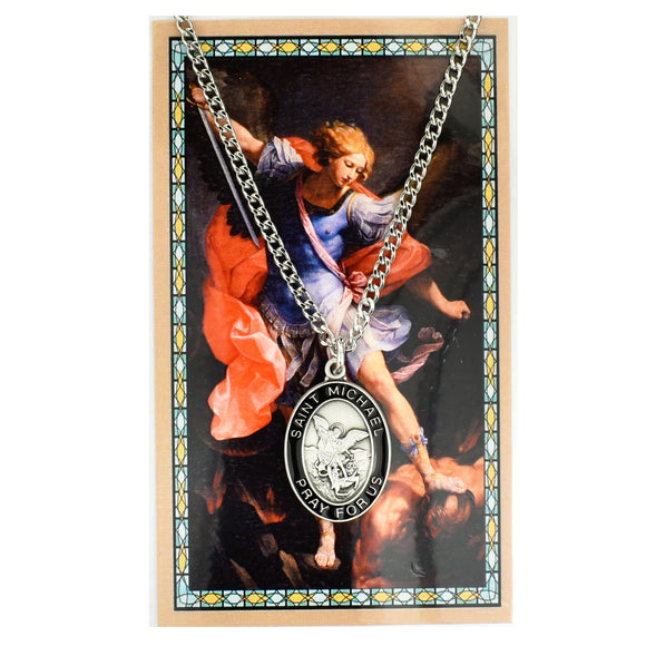 St. Michael Medal with Black Enamel and Prayer Card