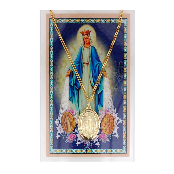 Gold-Toned Miraculous Medal and Prayer Card