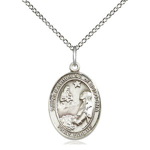 St. Catherine of Bologna Sterling Silver Oval Medal