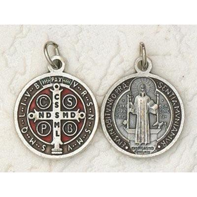 Large St. Benedict Enameled Medal Necklace