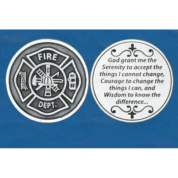 Fireman Serenity Prayer Pocket Token