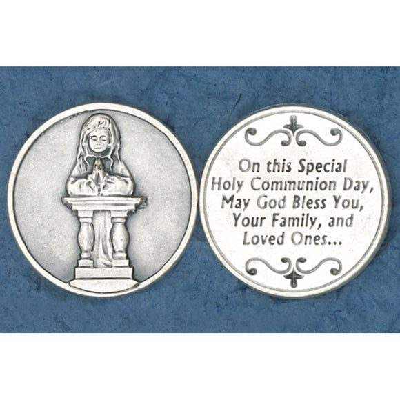 First Communion Girl Kneeling Pocket Token
