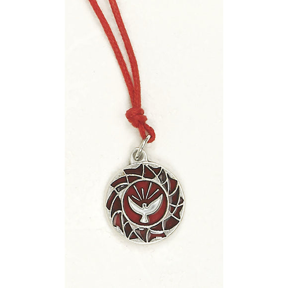 Enameled Holy Spirit Medal & Cord