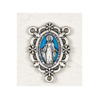 Enameled Blue Miraculous Medal Flower Center