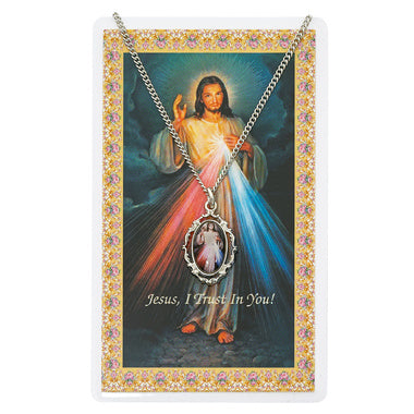 Pewter Divine Mercy Medal and Prayer Card