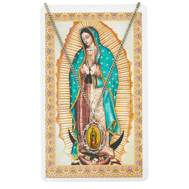 Pewter Our Lady of Guadalupe Medal and Prayer Card