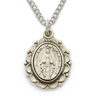 Sterling Silver Miraculous Medal with Decorative Border