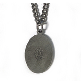 "Fine Pewter Miraculous Medal on 24"" Chain"