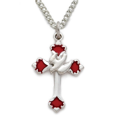 Red Enamel Budded Ends Dove and Cross Necklace