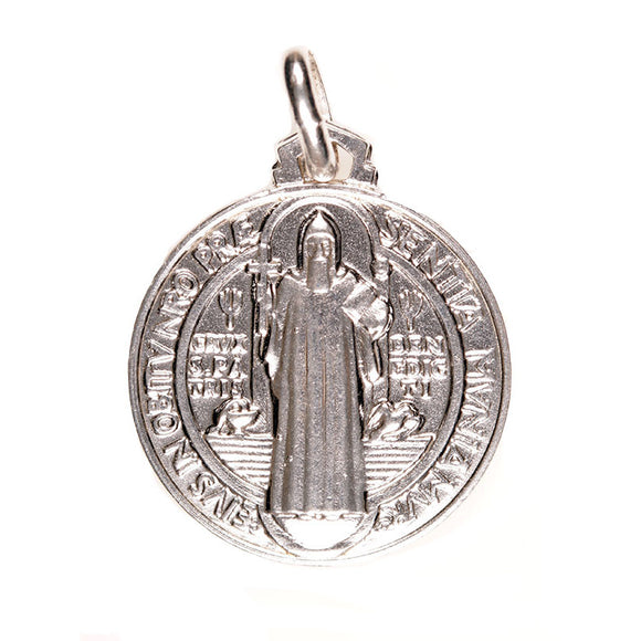 St. Benedict Large Round Medal in Sterling Silver