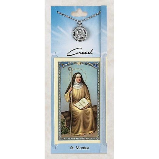 St. Monica Pewter Medal with Prayercard